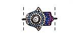 Jewel Tone Mix Pave CZ Gunmetal (plated) Hamsa Focal Link 22x16mm