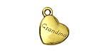 "Antique Gold (plated) ""Grandma"" Heart Charm 15x18.5mm"