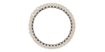 White Miyuki Delicas Woven on Stainless Steel Ring 23mm