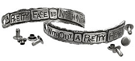 "The Lipstick Ranch Pewter ""A Pretty Face Is Nothing ..."" 2 Piece Cuff Plates w/ Rivets 82x11mm"