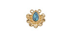 Zola Elements Matte Gold (plated) Flower Petals w/ Resin Turquoise Focal Link 13x13mm