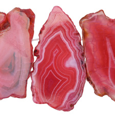 Ruby Line Agate Freeform Slice Drop w/ Natural Edge 24-50x40-80mm