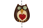 The BeadsNest Lampwork Glass Brown Owl w/ Heart 21-24x19-20mm