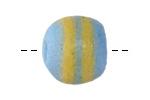 African Powder Glass Aqua w/ Yellow Bands Large Round Bead 22-23mm
