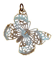 Vintaj Vogue Natural Brass Filigree Butterfly 38x46mm