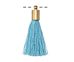 Sky Blue Thread Tassel w/ Gold (plated) Tassel Cap 30mm