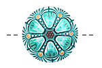 Czech Glass Turquoise Rose Window Button 27mm