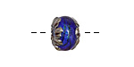 Grace Lampwork Sapphire Sea Shimmer Rondelle 9x13mm