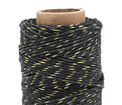 Black & Metallic Gold Hemp Twine 20 lb, 205 ft
