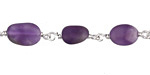 Amethyst (matte) Nugget Silver Finish Bead Chain