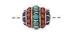 Tibetan Brass Barrel Bead w/ Lapis, Turquoise & Coral 19x17mm