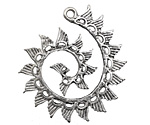 Antique Silver (plated) Wings Swirl Focal 38x40mm