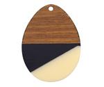 Walnut Wood & Vogue Resin Teardrop Focal 28x37mm