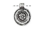 Greek Pewter Ancient Floral Medallion Pendant 19x25mm