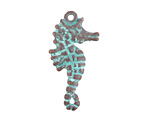 Greek Copper (plated) Patina Seahorse Pendant 17x33mm