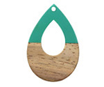 Walnut Wood & Emerald Resin Open Teardrop Focal 25x38mm