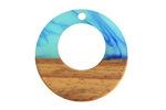 Walnut Wood & Nautical Swirl Resin Off-Center Hoop Focal 28mm