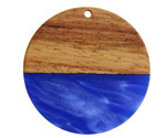 Walnut Wood & Indigo Pearlescent Resin Coin Focal 38mm