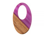 Walnut Wood & Orchid Pearlescent Resin Oval Off-Center Hoop Focal 22x35mm