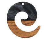Walnut Wood & Jet Pearlescent Resin Koru Focal 36x37mm