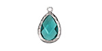 Sea Green Crystal in Silver (plated) Textured Bezel Teardrop 12x18mm