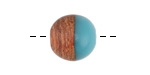 Walnut Wood & Sea Green Resin Bead 15mm