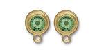 TierraCast Gold (plated) Stepped Bezel Ear Post w/ Peridot Crystal 12x17mm