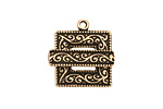Antique Brass (plated) Scroll Square Toggle Clasp 22x18mm, 21mm bar