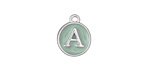 "Sweet Mint Enamel Silver Finish Initial Coin Charm ""A"" 12x14mm"