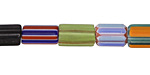 Nepalese Multi Color Cane Glass Barrel Beads 10-13x8mm