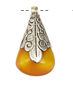 Tibetan White Brass Large Resin Amber Nugget Drop Pendant 27x47mm