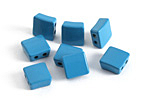 Turquoise Enamel 2-Hole Tile Square Bead 8mm