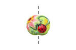 Grace Lampwork Ladybug on Spring Green Lentil 14x15mm