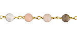 Moonstone (matte - multi) Round 6mm Brass Bead Chain