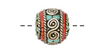 Tibetan White Brass Roped Rondelle Bead w/ Coral & Turquoise 16x17mm