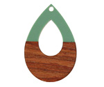 Walnut Wood & Vintage Turquoise Resin Open Teardrop Focal 25x38mm
