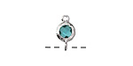 Sea Green Crystal in Silver (plated) Textured Bezel Link 7x12mm