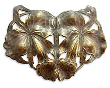 Vintaj Natural Brass Arts & Crafts Lilies Pendant 72x55mm