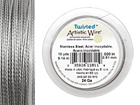 Twisted Artistic Wire Stainless Steel 24 gauge, 10 yards