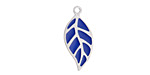 Classic Blue Enamel Stainless Steel Falling Leaf Focal 10x22mm