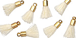 Ivory w/ Gold (plated) Bead Cap Tiny Thread Tassel 14mm