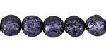 Metallic Black Violet (plated) lava Rock Round 10mm