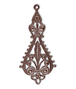 Vintaj Natural Brass Etruscan Drop Filigree 25x55.5mm