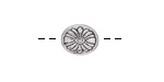 Antique Silver Finish Sunflower Puff Oval 12x10mm