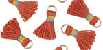 Terra Cotta w/ Blue and Marigold Binding & Jump Ring Thread Tassel 18mm