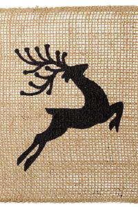 """Black Leaping Reindeer 5.5"""" Burlap Ribbon"""