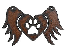 The Lipstick Ranch Rusted Iron Winged Paw Heart Pendant 70x44mm