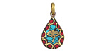 Tibetan Brass Teardrop Wisdom Eyes Pendant in Turquoise & Coral Mosaic 16x32mm