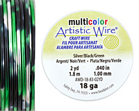 Artistic Wire MultiColor Silver/Black/Green 18 Gauge, 2 Yards