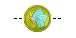 Czech Glass Chartreuse & Aqua w/ Gold Butterfly Button 18mm